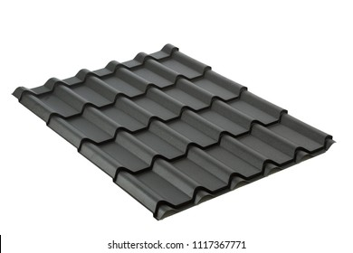 steel profile sheets isolated on white background.Material for roof