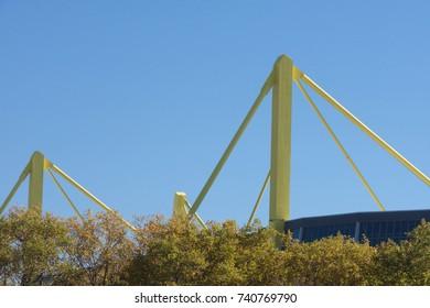 Steel pylons at a football stadium