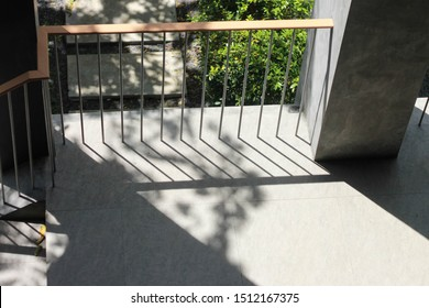 steel railing on balcony with natural light at afternoon.