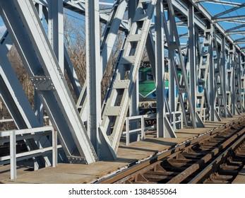 A steel railroad bridge over Argeș river, Romania, near Grădinari village, Ilfov county