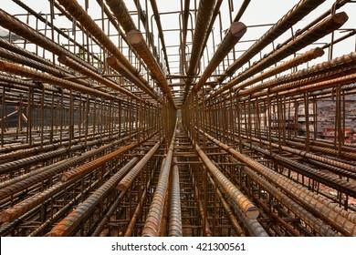 Steel rebar perspective