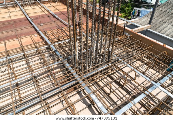 Steel Rebar Reinforcement Post Tension Slab Stock Photo