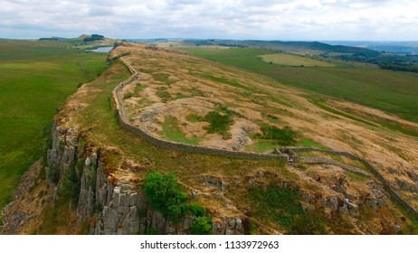 STEEL RIGG, NORTHUMBERLAND, UK - July 12, 2018: Aerial view of Hadrians Wall near Steel Riggs in Northumberland England UK