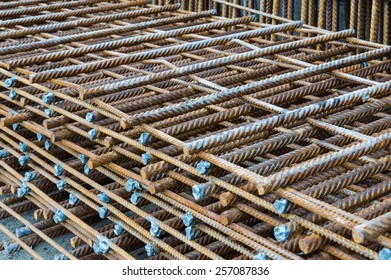Steel rods placed in parallel used for construction