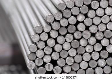 Steel rods in rows