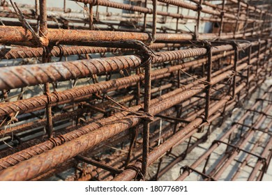 Steel rods used to reinforce concrete in construction