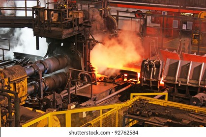 Steel rolling mill in action.