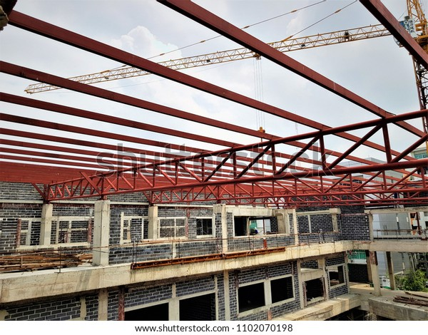 Steel Roof Framing Buildings Under Construction Stock Photo Edit Now 1102070198