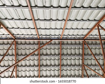 Steel roof structure with tiles.