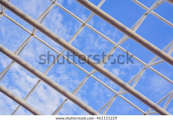 Steel Roof Trusses Details Clouds Sky Stock Photo Edit Now 461115229
