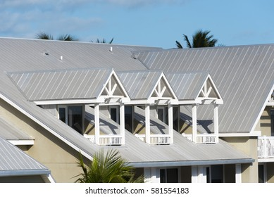 Steel roofing on modern apartment condo building for hurricane protection