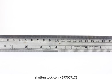 Steel ruler on a white background
