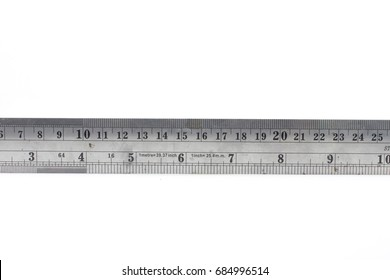 Steel ruler on white background.