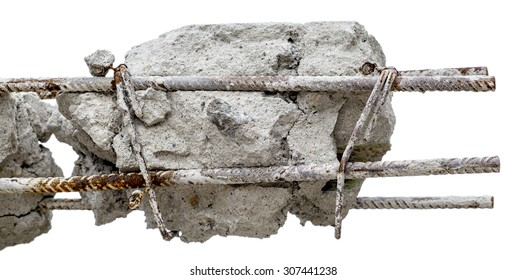 A steel rusty rods in concrete. Damaged concrete pillar isolated on white background.