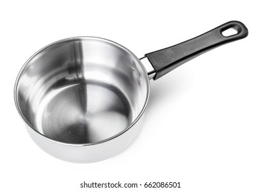 Steel saucepan isolated on white background