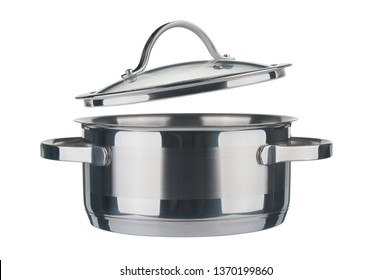 Steel saucepan and lid closeup isolated on white background