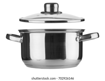 Steel saucepan and lid closeup on white background