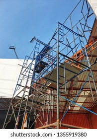 Steel scaffolding for various construction work.