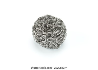 steel scouring pad on a white background