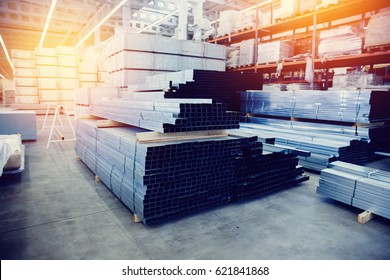 Steel, Shelf with structural materials on the shelves in the building warehouse. high contrast and monochrome color tone.  - Shutterstock ID 621841868