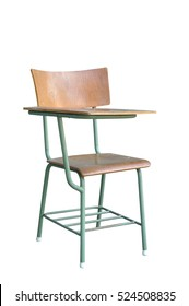 Steel single Lecture chair with wood seat table squab with clipping path. education concept.