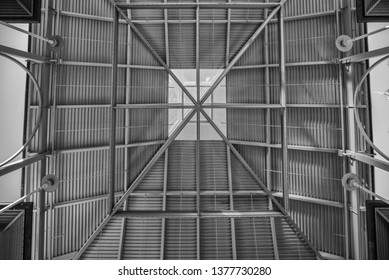 Steel Skylight .  Black and white vertical view of a skylight.