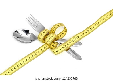 Steel spoon a fork and measuring tape