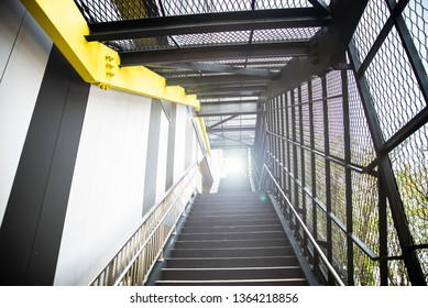 Steel staircase extending upwards