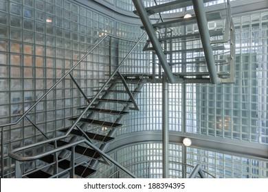 Steel stairway in a modern office building