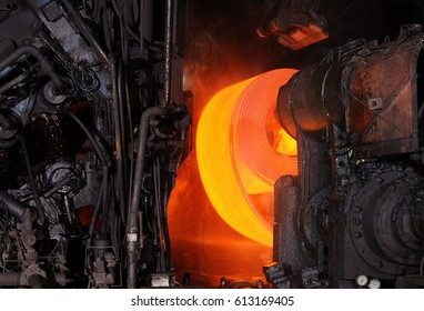 Steel Strips being manufactured in Hot Rolling Mill at Iron & Steel Plant, Jamshedpur Jharkhand India 11th May 2011