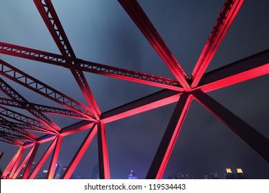 Steel structure bridge close-up night scene