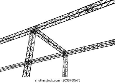Steel structure builing on white background