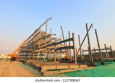 steel structure built on a construction site