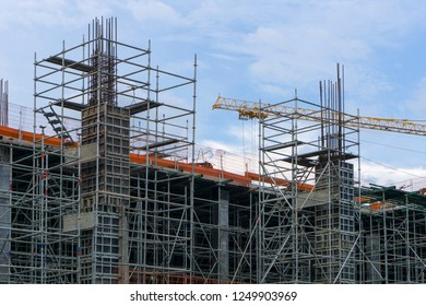 Steel structure In the construction site is under construction.