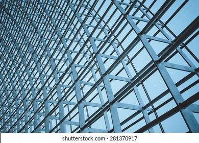 The steel structure of the glass wall in Beijing