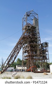 The steel structure of the headgear of a gold mine in South Africa