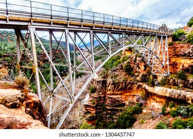 The steel structure of Midgely Bridge on Arizona SR89A between Sedona and Flagstaff. The bridge span crosses Wilson Canyon where it joins the Oak Creek Canyon just north of Sedona in northern Arizona
