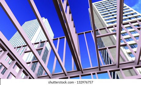 Steel structure on construction site