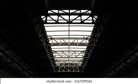 Steel structure roof with sky light, architecture design.