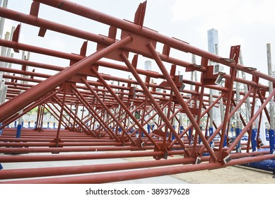 Steel structure roof truss in construction site