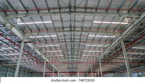 Steel structure roof truss with Fire sprinkler piping system under the construction building in the factory