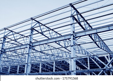 Steel structure workshop and raw materials, in a factory, north china