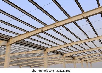Steel structure workshop roof is under construction