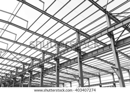 steel structure workshop under construction stock photo edit now Metal Cross Beam steel structure workshop is under construction