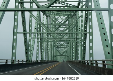 The steel superstructure of the Astoria Megler bridge, a steel cantilever through truss bridge that spans the lower Columbia River, between Astoria, Oregon, and Point Ellice Washington