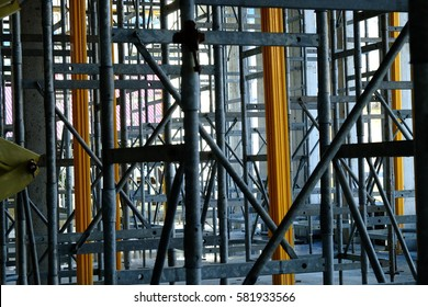 Steel supporting the building of the first building.