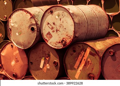 steel tank or oil fuel toxic chemical barrels old rusty color tone for background.