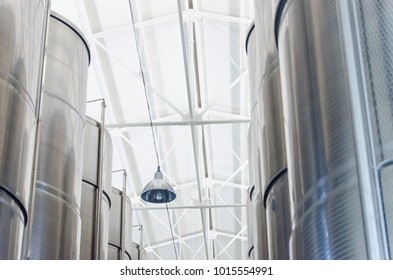steel tanks for wine at the winery