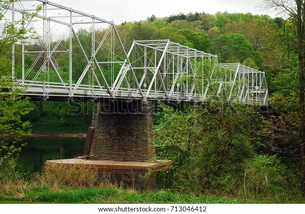 Steel Truss Bridge Crosses Delaware River Stock Photo (Edit