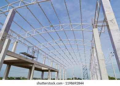 Steel truss of building for support roofing,Construction work.